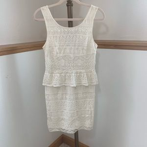 American Eagle Outfitters Cream Lace Dress